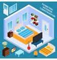 Isometric Bedroom Interior vector image vector image