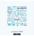 Logistic integrated thin line symbols Modern vector image vector image