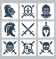 medieval armor and swords icon set vector image