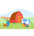 milkmaid and shepherd male characters in working vector image