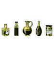 olive oil of trees in bottle and jars with vector image vector image