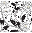 ornamental floral black and white seamless vector image
