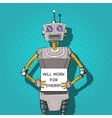 Robot with ads pop art style vector image vector image