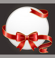 round pure gift card with festive ribbon and bow vector image vector image