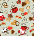Seamless pattern of teacups and cookies vector image vector image
