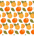 seamless pattern with oranges slices and leaves vector image