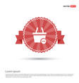 shopping cart and delete sign - red ribbon banner vector image vector image