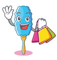 Shopping feather duster character cartoon