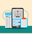 smartphone contract digital technology wallet vector image