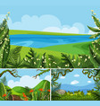 three scenes of nature at daytime vector image vector image
