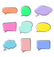 various cute speech bubble doodle stickers set vector image