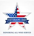 veterans day usa star ribbon white vector image vector image