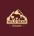 vintage bear logo template vector image