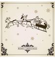 Vintage Christmas card Santa Claus sleigh reindeer vector image vector image