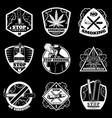 vintage white stop smoking badges set vector image