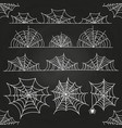 white spider web on chalkboard backdrop halloween vector image vector image