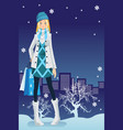 winter shopping girl vector image