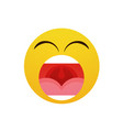 yellow cartoon face screaming people emotion icon vector image vector image