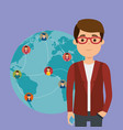 young man student with world community vector image vector image