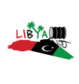 with map and flag of Libya and oil barrel vector image