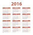 2016 Calendar - color design vector image vector image