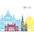 antwerp skyline pop vector image vector image