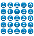 avatar user icons set blue simple style vector image vector image
