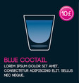 blue cocktail card template with price and flat vector image vector image