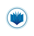 Book logo template Blue gradient style vector image