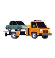 broken car evacuation on tow truck road vector image