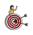 business woman with target arrows vector image