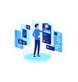businessman monitoring indicators of states vector image