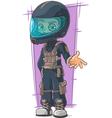 Cartoon moto racer in protective vector image vector image