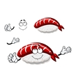 Cartoon nigiri sushi with marinated shrimp vector image vector image