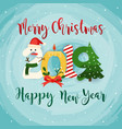 christmas 2019 greeting card flat design modern vector image