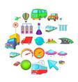 city navigation icons set cartoon style vector image vector image