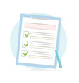 claim form with pen and checklist icon vector image vector image