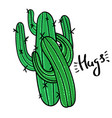 couple of cactus with message hugs vector image vector image