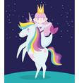 cute little mermaid on unicorn rainbow hair vector image vector image