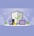 data protection concept with big shield and vector image vector image