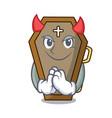 devil coffin mascot cartoon style vector image