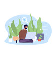 eco friendly office man working at garden vector image vector image