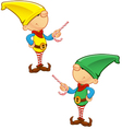 Elf Mascot Pointing With Candy vector image