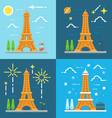 Flat design 4 styles of Eiffel tower Paris France vector image vector image