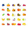 fresh fruits big polygonal icons set vector image
