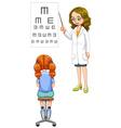 Girl having her eyes checked vector image