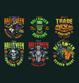 halloween vintage colorful labels vector image vector image