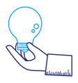 hand with bulb light isolated icon vector image vector image