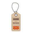 hang tag made in macedonia with flag icon isolated vector image vector image
