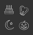 holidays chalk icons set vector image